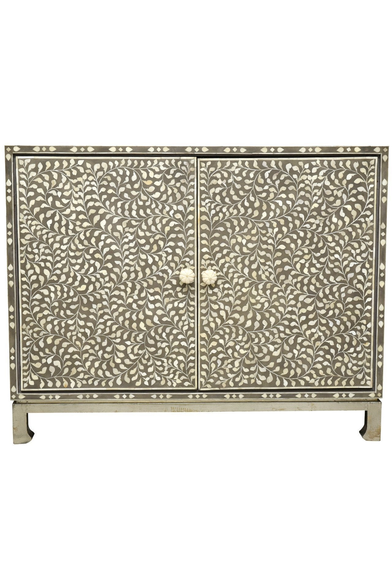 Bone Inlay  side Cabinet with metal stand