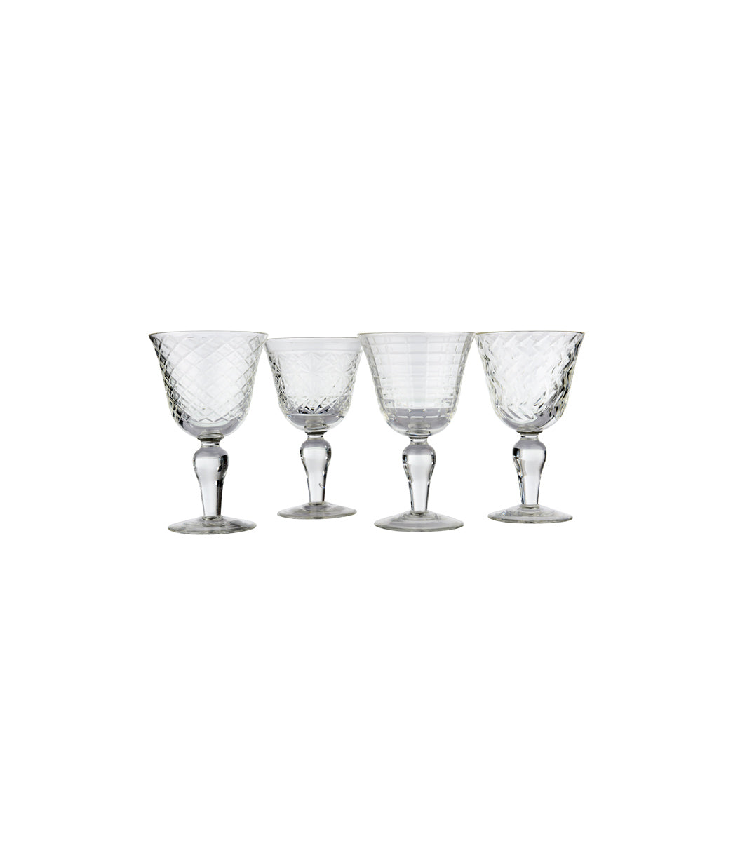 Wine glass clear cuttings Set of 4