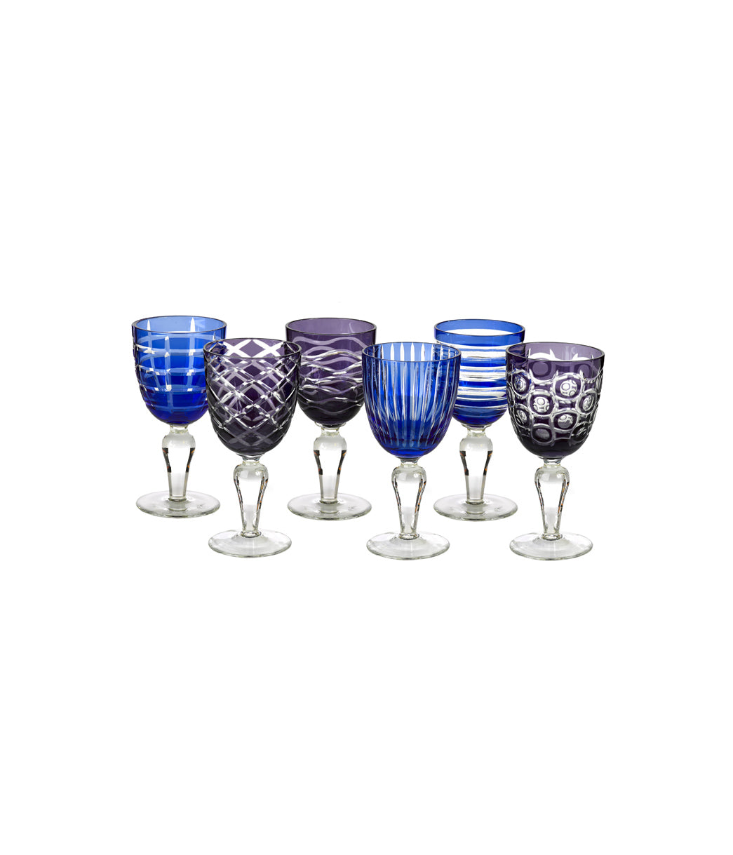 Wine glass cobalt Set of 6
