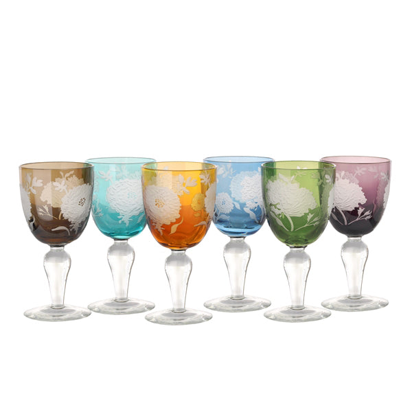 Wine glass peony multicolour set 6