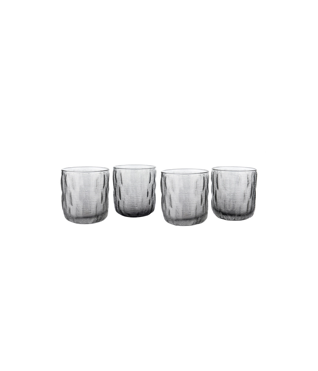 Horizontal lines water glass Set of 4