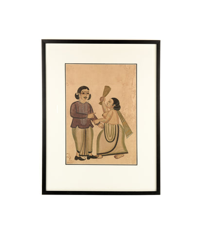 kalighat painting women with the broom