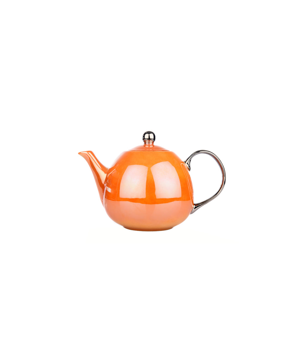 polka teapot burnt orange