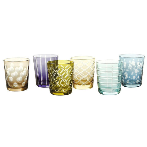 Mixed Cutting Glass Tumbler Set of 6