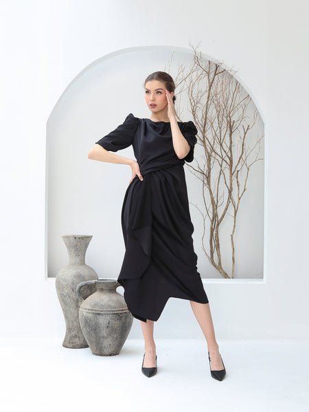 DRESS PLOI TANGAN HITAM