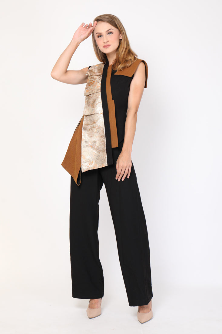 Top Jacquard Lapel Emas