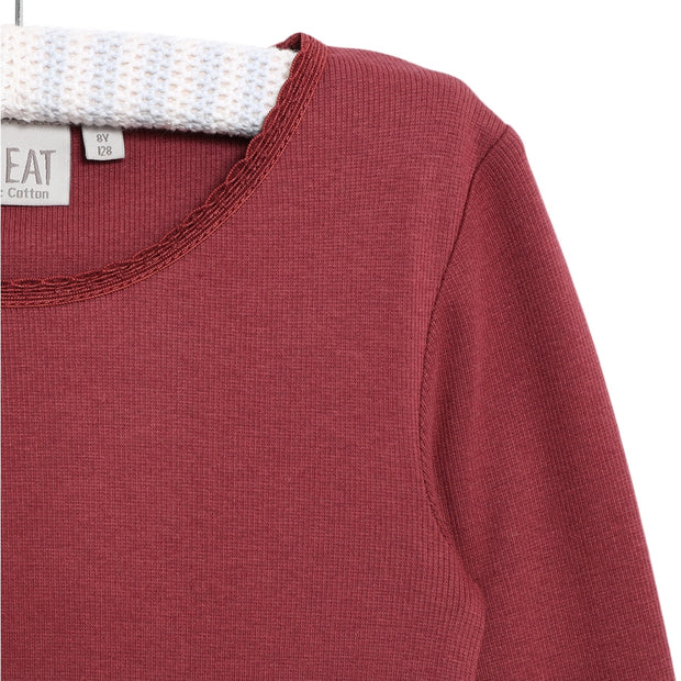 Wheat Rib T-Shirt Lace LS Jersey Tops and T-Shirts 2105 burgundy