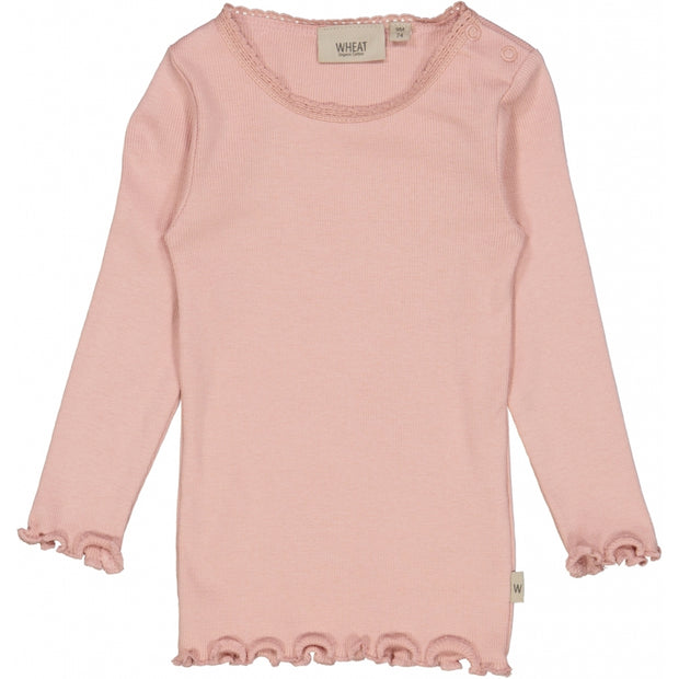 Wheat Rib T-Shirt Lace LS Jersey Tops and T-Shirts 2270 misty rose