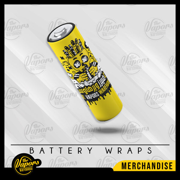 TVWH Battery Wraps 18650 / Yellow Skull TVWH Wraps (Pack of 2)