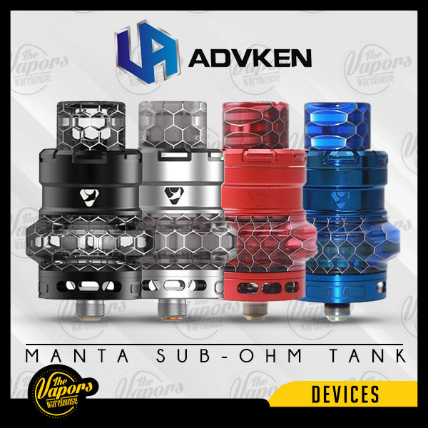 ADVKEN MANTA SUB-OHM TANK SS,Black,Golden,Rainbow,Red,Purple