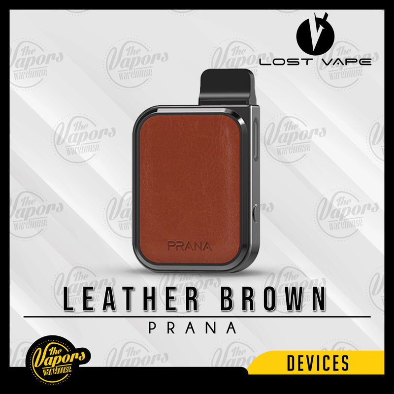 LOST VAPE PRANA 12W POD SYSTEM Leather Brown (Gun Metal)