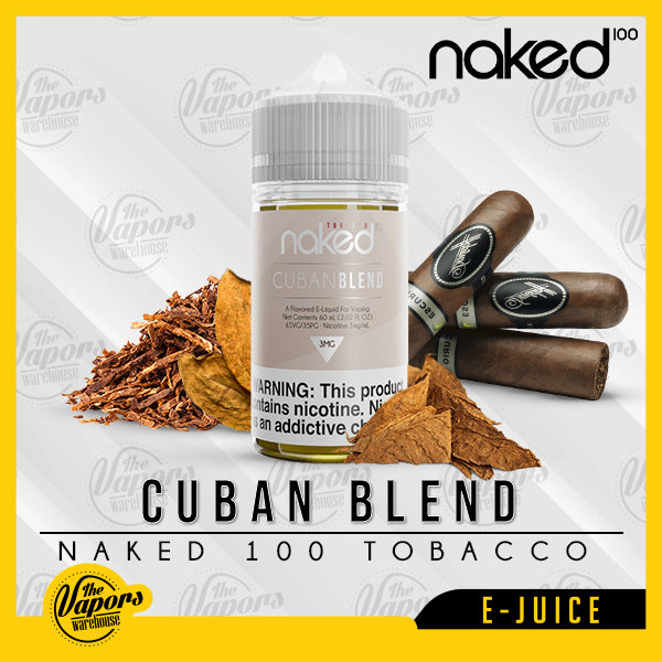 Naked 100 E-Liquid - Cuban Blend 50ml (UAE Version) / 3mg,60ml / 6mg,60ml / 12mg,60ml / 0mg