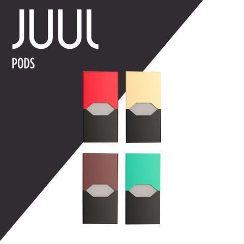 JUUL pods including Virginia Tobacco, Classic Tobacco, Mint, and Methanol