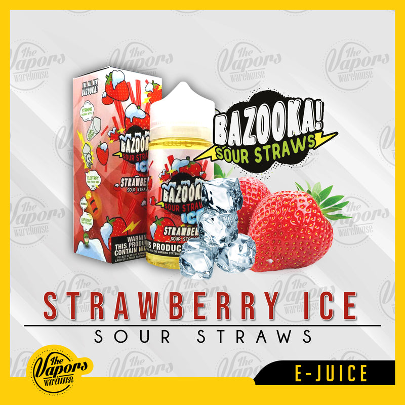 bazooka vape strawberry sour straws on ice