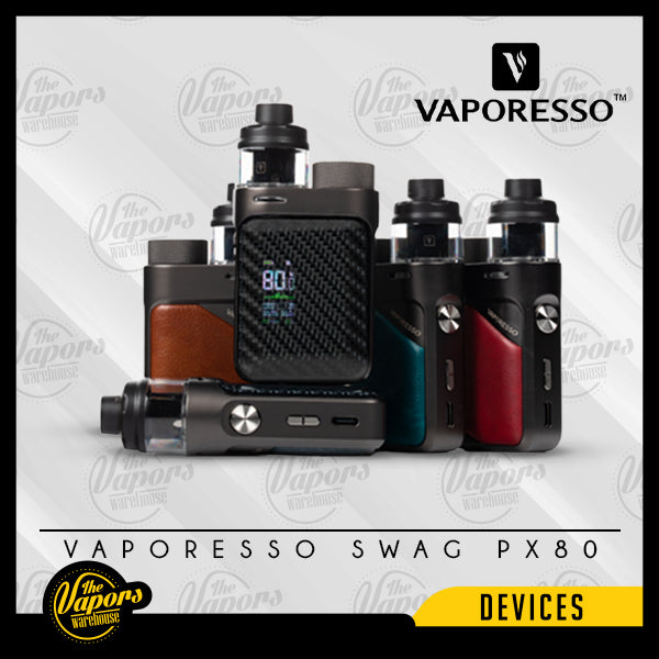 VAPORESSO SWAG PX80 POD MOD KIT Emerald Green,Imperial Red,Brick Black,Leather Brown,Gunmetal Grey