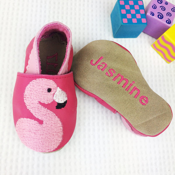 girls baby shoes - personalised baby girls gift - flamingo baby shoes