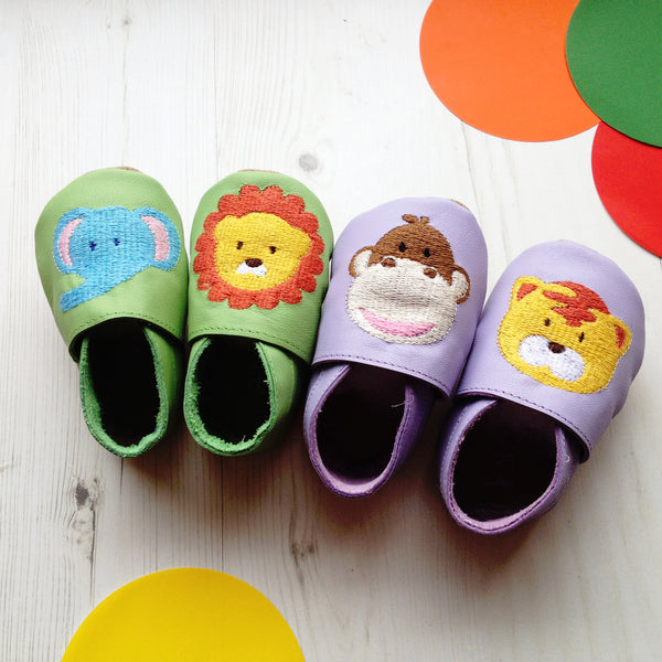 Animals baby shoes - personalised baby shoes - first birthday gift - baby keepsake