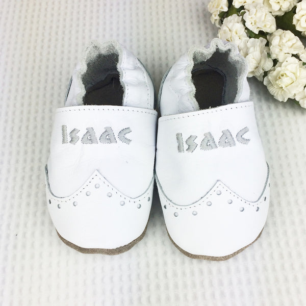Personalised Leather Brogue Christening Shoes - Born Bespoke