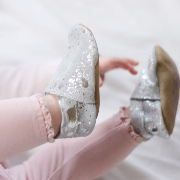 Personalised Silver Sparkle Baby Shoes by Born Bespoke - Born Bespoke