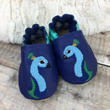 Personalised Peacock Leather Baby Shoes - Born Bespoke