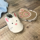 Initialed First Easter Bunny Paw Print Baby Shoes - Born Bespoke