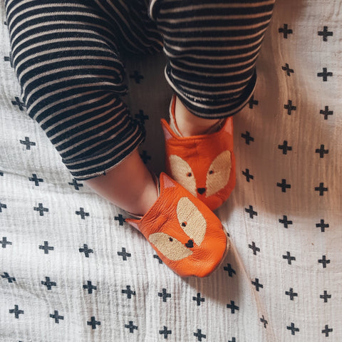 Embroidered Fox Leather Baby Shoes by Born Bespoke