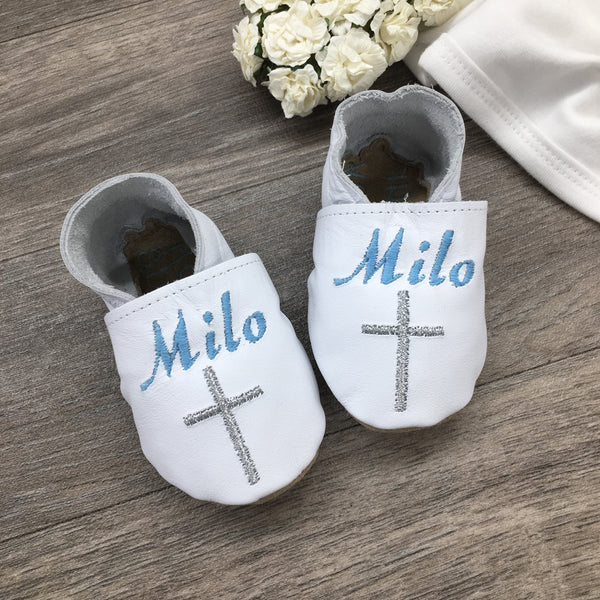 Personalised Christening Shoes with Embroidered Cross by Born Bespoke - Born Bespoke