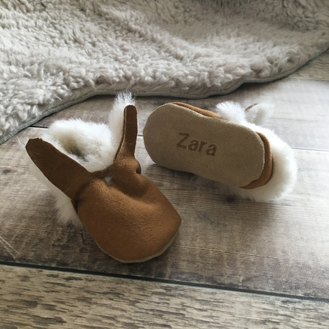 Personalised First Easter Bunny Sheepskin Baby Booties