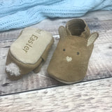Personalised Suede First Easter Bunny Baby Shoes with a Sheepskin Tail