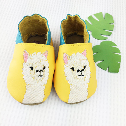 Embroidered Yellow Alpaca Leather Baby Shoes by Born Bespoke