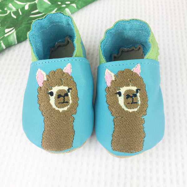 Turquoise Alpaca Leather Baby Shoes by Born Bespoke - Born Bespoke