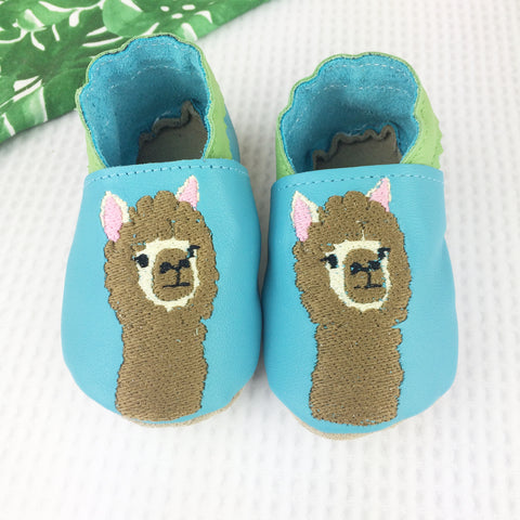 Turquoise Alpaca Leather Baby Shoes by Born Bespoke