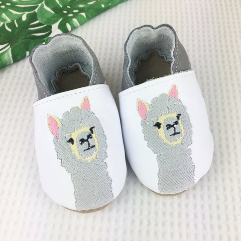 White Alpaca Leather Baby Shoes by Born Bespoke