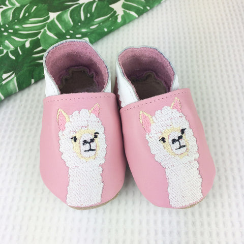 Pink Alpaca Leather Baby Shoes by Born Bespoke
