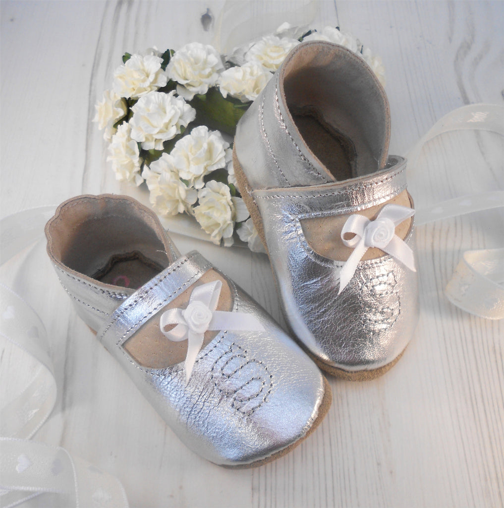 Personalised Silver Leather Christening Shoes - Born Bespoke