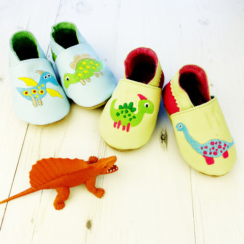 Dinosaur Leather Baby Shoes for Boys or Girls by Born Bespoke