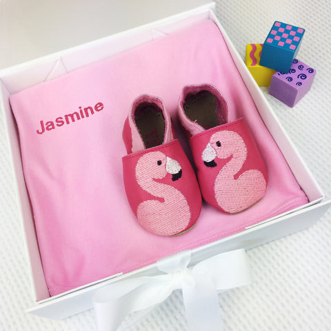 Personalised Flamingo Baby Shoes Gift Set