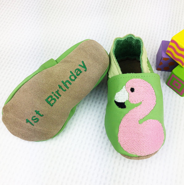 Personalised First Birthday Flamingo Baby Shoes - Born Bespoke