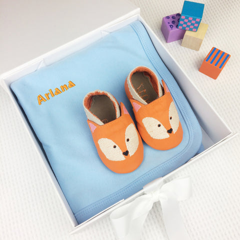 Personalised Fox Baby Shoes Gift Set