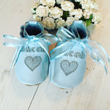 Personalised Boy's Embroidered Heart Christening Shoes - Born Bespoke