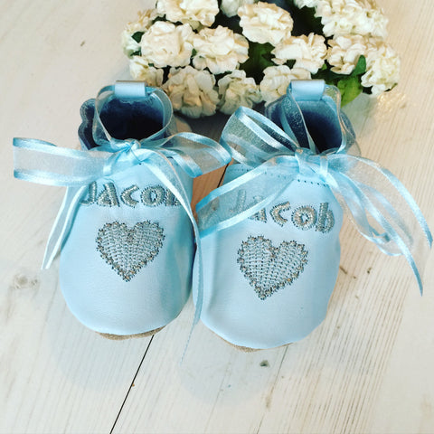 Personalised Boy's Embroidered Heart Christening Shoes