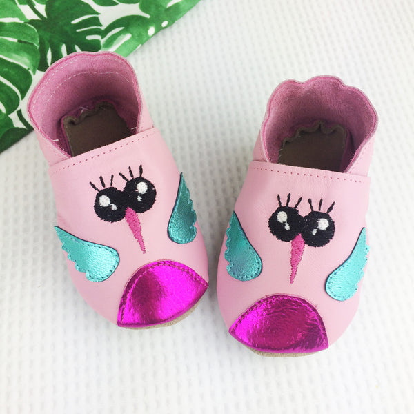 Pink Hummingbird Leather Baby Shoes by Born Bespoke - Born Bespoke