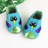 Turquoise Hummingbird Leather Baby Shoes by Born Bespoke - Born Bespoke