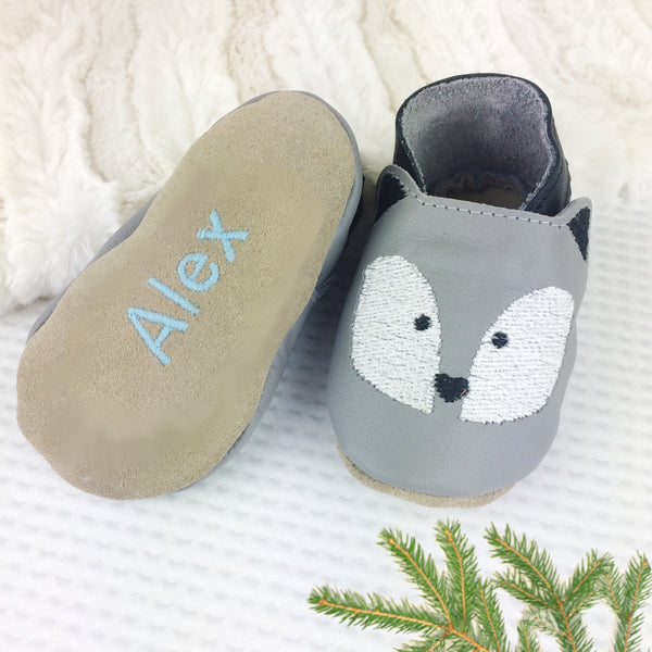 Embroidered Husky Leather Baby Shoes by Born Bespoke - Born Bespoke