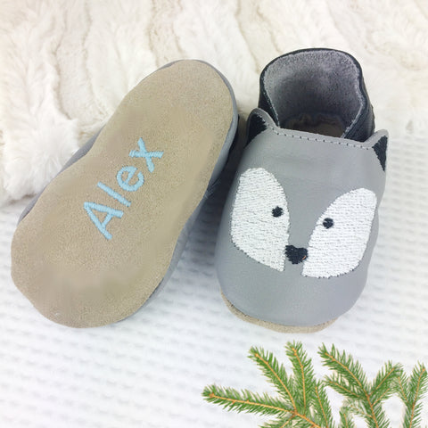 Embroidered Husky Leather Baby Shoes by Born Bespoke