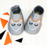Geometric Fox Unisex leather Baby Shoes by Born Bespoke - Born Bespoke