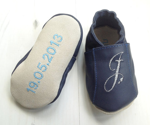 Leather Baby Shoes with initial and birth details