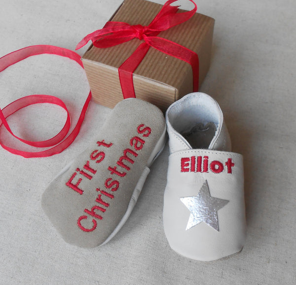 Personalised First Christmas Star Leather Baby Shoes - Born Bespoke