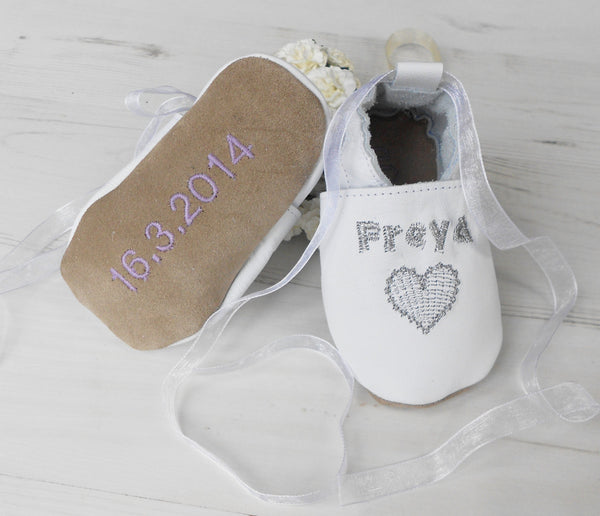 Personalised Silver Heart Christening Shoes - Born Bespoke