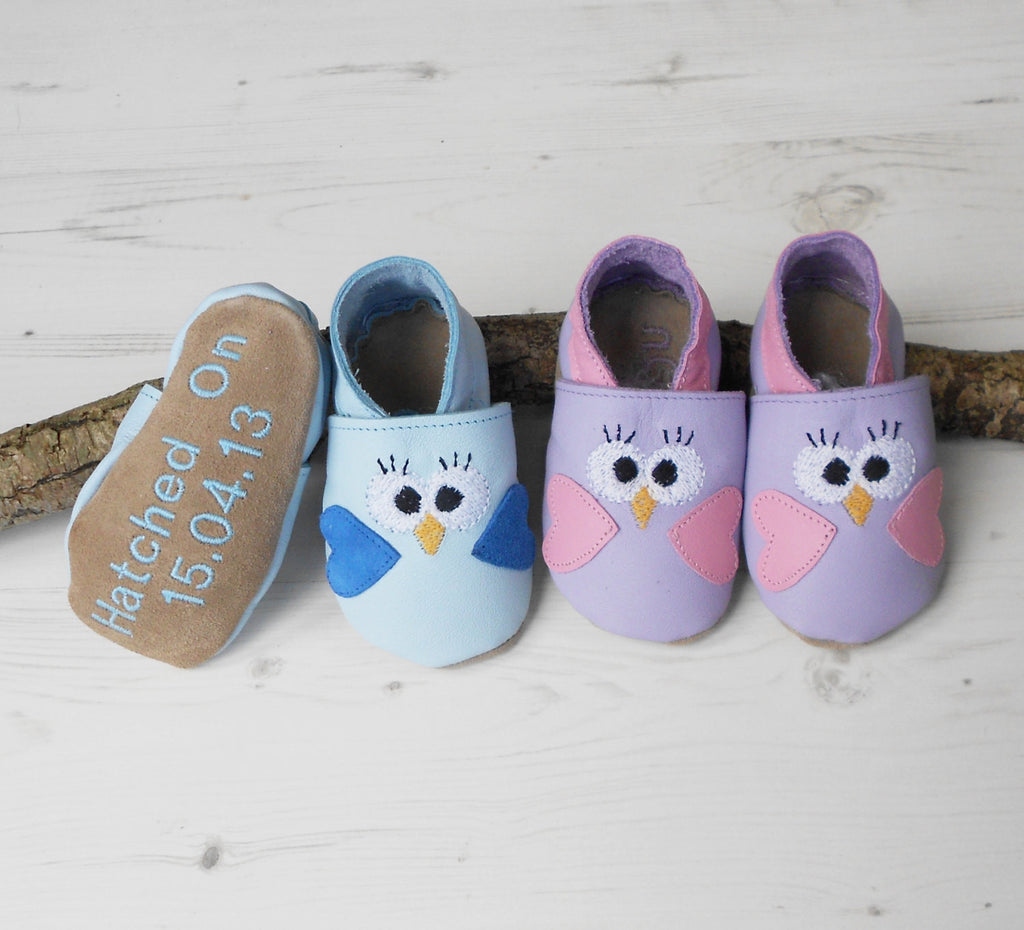 Personalised Bird Baby Shoes - Born Bespoke